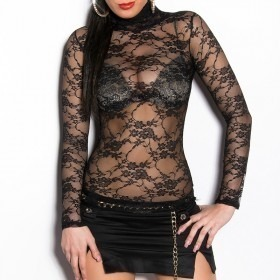 KouCla Long Sleeve Floral Lace Top - Black