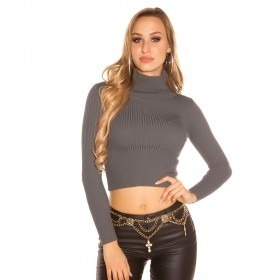 KouCla Roll Neck Knitted Crop Jumper - Anthracite