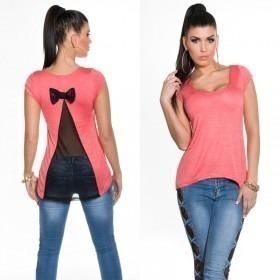 KouCla Mesh Back T-shirt - Coral