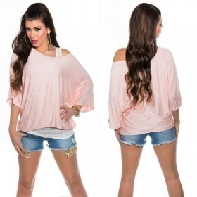 KouCla 2in1 Loose Bat Sleeve Top Casual Blouse - OS - Pink