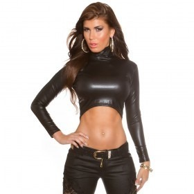 KouCla Leather Look Crop Top With High Neck