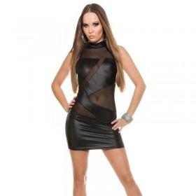 KouCla Leather Look Bodycon Mini Dress - Black