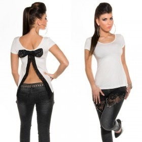 Women's Open Back T-Shirt With Bow in Clubwear Style - White