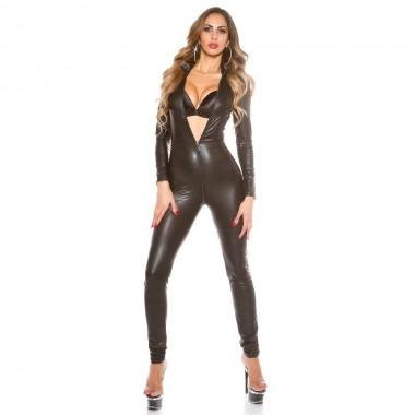 KouCla Leather Look Crotch Zip Catsuit - Black