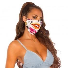 KouCla Art Print Neo Lips Face Mask - White