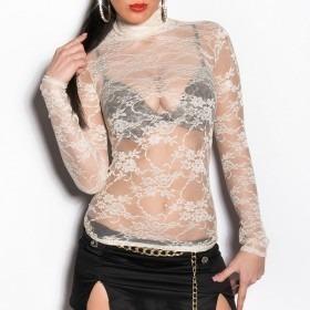 KouCla Long Sleeve Floral Lace Top - Beige