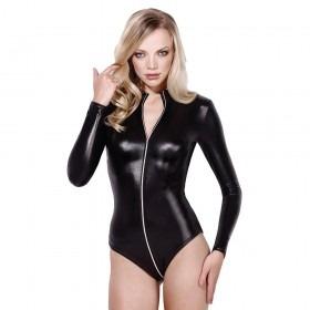 Fever Miss Whiplash Leather Look Zipper Bodysuit
