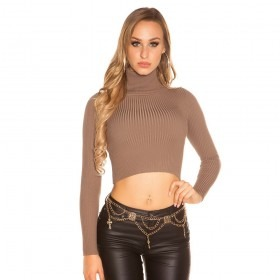KouCla Roll Neck Knitted Crop Jumper - Cappuccino