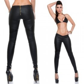 KouCla Leather Look Trousers With Back Zip - Black