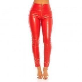 KouCla High Waist Leather Look Zip Trousers - Red