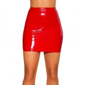 KouCla Latex Look Mini Skirt - Red