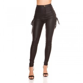 KouCla Leather Look Lace Up Side Skinny Trousers - Black