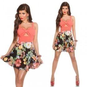 KouCla Summer Mini Dress With Big Bow - Coral