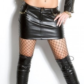 KouCla Leather Look Mini Skirt With Studs - Black