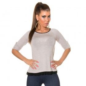 KouCla High Low Mesh Panel Sweater - Beige
