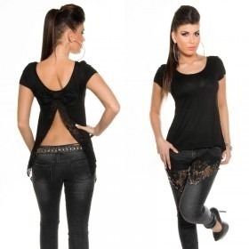 Women's Open Back T-Shirt With Bow in Clubwear Style - Black