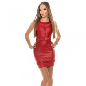 KouCla Leather Look Mini Dress With Fishnet Panels - Red