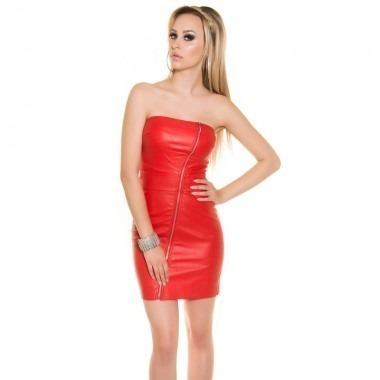 KouCla Leather Look Zip Front Bandeau Mini Dress - Red