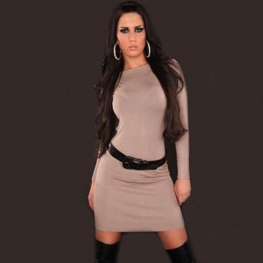 koucla longpulli soft knit jumper dress with belt