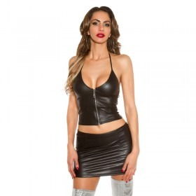 KouCla Go Go Leather Look Lace Up Mini Skirt & Top Set
