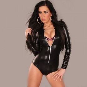 KouCla Leather Look Bodysuit With Front Zip - Black