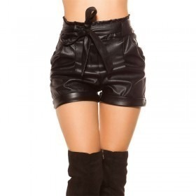 KouCla Leather Look Belted Shorts - Black