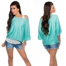 KouCla 2in1 Loose Bat Sleeve Top Casual Blouse - OS - Turquoise