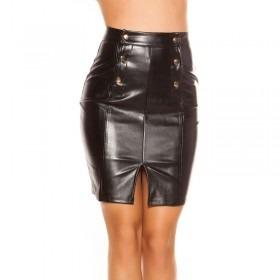 KouCla High Waisted Leather Look Skirt - Black