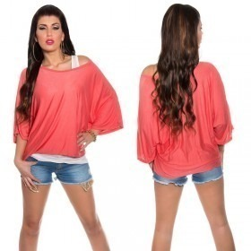 KouCla 2in1 Loose Bat Sleeve Top Casual Blouse - OS - Coral